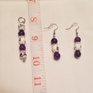 💜 Cute and shiny purple earring and pendant set